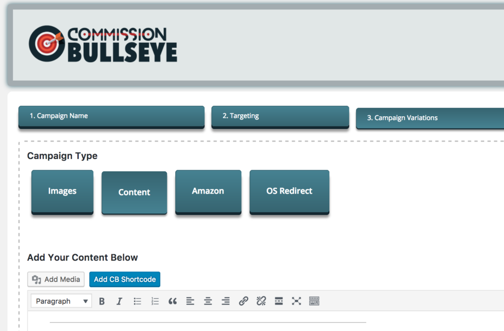 Commission Bullseye Campaign Types Screenshot ~ Read our Full Commission Bullseye Review ~ CountGenius.com